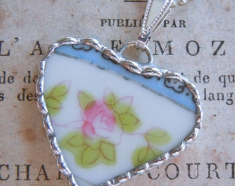 Fiona & The Fig Vintage-PINK ROSE-Broken China Soldered Necklace Pendant Charm- Jewelry