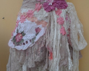 20%OFF vintage inspired strawberry and cream wrap skirt.a work of art and love...40'' across plus ties