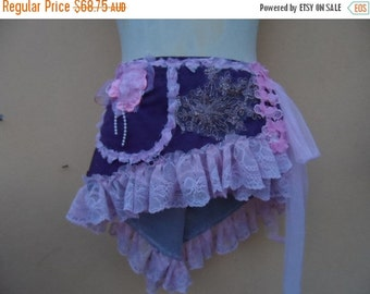 """20%OFF funky pixie faux suede wrap belt/skirt..44"""" across plus long lace ties.FREE Shipping"""