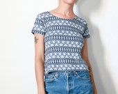 Esprit top, 90s vintage blue navy blue white Bird, flower, plaid patterned knit short sleeve shirt, jumper, womens s/m