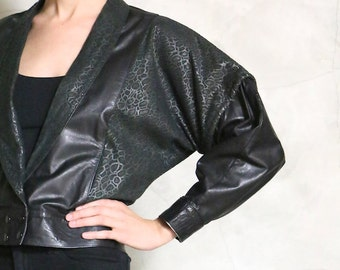 leather jacket, 1980's 80's vintage  cropped black leather batwing jacket, women's small S