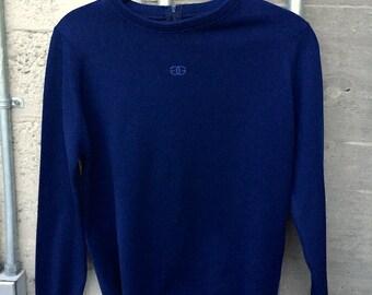 Givenchy shirt, sweater, 80's navy blue poly knit long sleeve jumper, top,  w/ GG logo, womens medium m