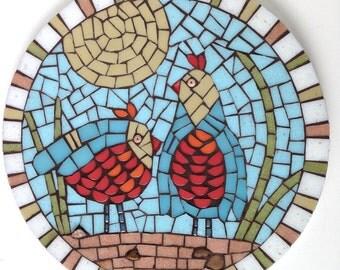 Mosaic Art '2 Blue Quail' Bird home decor