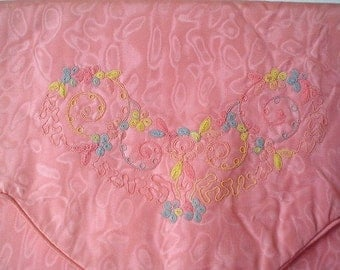 Vintage 1930's Pink Moire Lingerie Bag - Padded, Embroidered - Romantic Boudoir - Travel - Peach - As New Condition