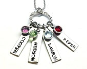 Hand Stamped Personalized Mothers Necklace - New Mom Jewelry - Birthstone Jewelry