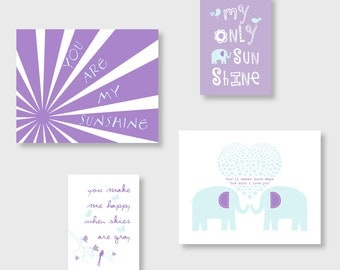 You Are My Sunshine Wall Art, Elephant Nursery Decor Purple and Aqua Nursery Art, Art for Girls Room 8x10 and 5x7 Print Set of 4 YassisPlace