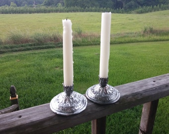 Cast Metal Taper Candle Holder Swirls Leaves Pair Silver Tone