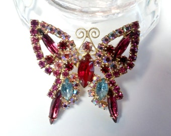 Vintage Rhinestone Butterfly Brooch Pink Collection 29.95