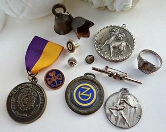 Bavaria Medallion Medal Assemblage Mix Media Design Lot / Re-purpose Harvest Craft Vintage / Salvaged  (H8)