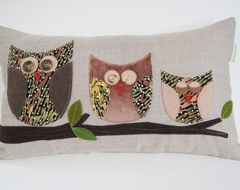 """Owl Family / Organic Linen Pillow Cover/ Decorative Pillow/ 12""""x20""""/ OOAK /  Made To Order"""