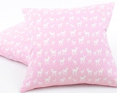"Pink Deer Pillow Cover 18x18"", Pink Throw Pillow, Baby Pink, Nursery Pillow, Fawn Pillow, Cushion Cover, Reversible, Follow the Leader"