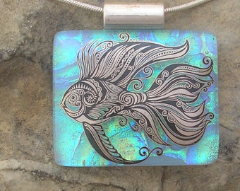 Beta Fish Necklace Fused Dichroic Glass Fish Pendant