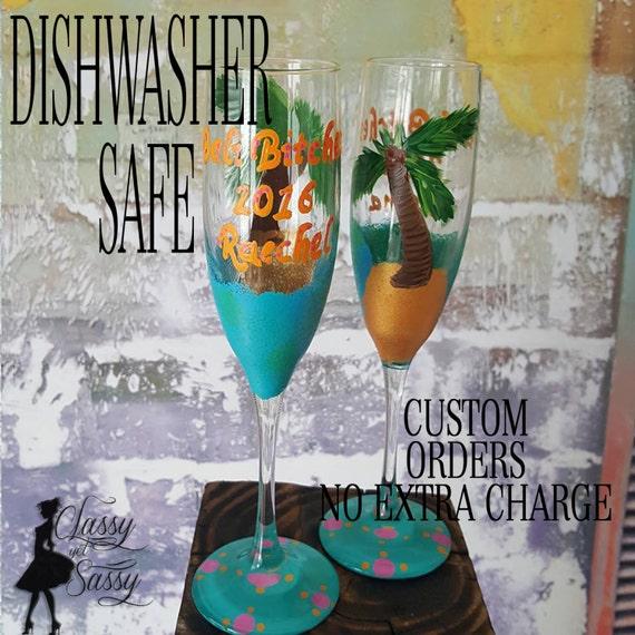 Summer Wine Glass,Beach Wineglass, Beach Bum Wine glass, beach babe, spring break wine glases