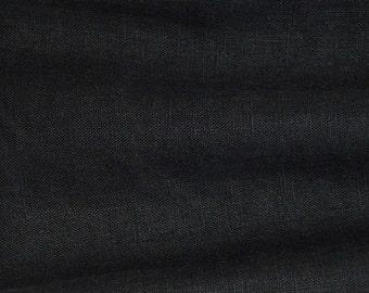 Black Linen Fabric/ soft/heavy/garment