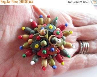 """ON SALE Vintage Czech Mariam Haskell ? Style Wood Bead Brooch-2"""" Diameter-Excellent Condition-Signed CZECH"""