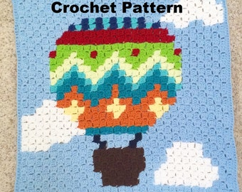 CROCHET PATTERN: Corner to Corner Afghan Pattern, C2C Pattern, Hot Air Balloon Crochet Pattern, Baby Blanket Pattern, Afghan Graph Pattern
