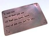 Copper Wallet Insert Card , Wallet Insert Card , Hand Stamped , MAN CARD  , Boyfriend Gift, husband gift, 8th anniversary,  , , valentines