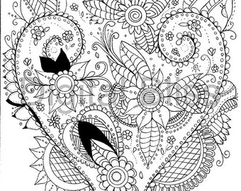 Adult Coloring Pages, Whimsical Heart & Flowers and Swirls, Adult Coloring Page, INSTANT DOWNLOAD,  Kids Colouring Page, Kids Craft Activity