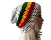SALE Rasta Beanie, Slouch, Mens or Unisex ,Stripped Slouchy Hat