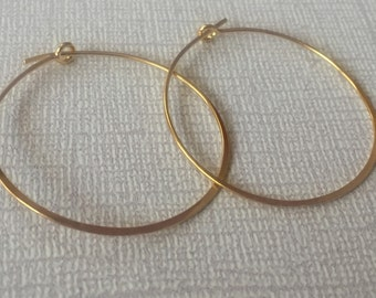 Gold Hoops | Hammered Gold Hoop Earrings | Easy Breezy Style | Light Weight Hoops | 24K Gold Jewelry | Gold Hoop Earring | Minimalist