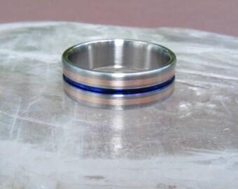 New Titanium 14K gold Equinox Blue Solstice Gold  Wedding Band Ring