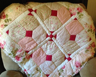 Shabby floral baby girl quilt with fringed edges-gorgeous fabric!