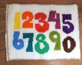 Counting Numbers..... Vintage Latch Hook Numbers, Colorful, Wall Hanging, Children's Room, Nursery, Tapestry