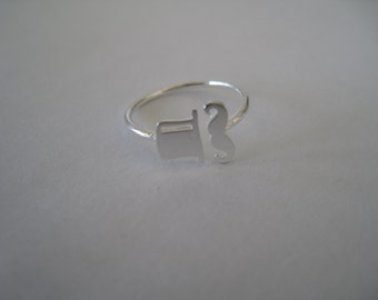 Adjustable Top Hat/Mustache Ring in Silver