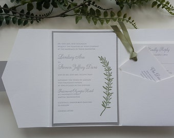 Elegant Wedding Invitation - Modern Wedding Invitation - Pocket Wedding Invitation - Green Wedding Invitation - Style W-18 - SAMPLE