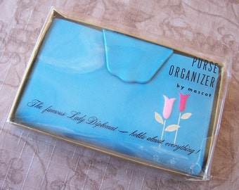 Vintage blue wallet with tulips, new, old stock.  C9-219-1
