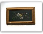 Antique  Oil on Wood Still Life Painting - Late 19th C Framed Art - Botanical Art