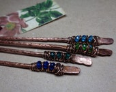 "2 metal hair pins Choose Your Colors, hammered copper  6+3/4"" long, bun holders boho ethnic tribal style hair picks sticks arrows blue green"