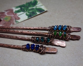 2 Metal Hair Sticks - Choose Your Colors & Length - Boho Hair Accessories - Copper Hair Bun Holders - Metal Picks Pins Forks - Womens Gift