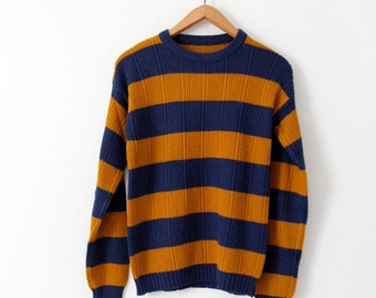 vintage striped sweater, blue and gold crew neck knit pullover