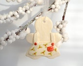 RESERVED ~ Ceramic Gingerbread Girl Ornament With Apron, Red Green Holly