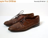 FINAL CLEARANCE Vintage Woven Leather Oxfords - Sesto Meucci Italian Leather Flats - Womens 7 7.5 Narrow