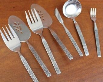 Lifetime Cutlery Vintage Flatware LCU55 with Embossed pattern  on Handle Stainless Silverware BIN 54