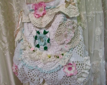 Victorian Shabby Purse, SMALL handmade fabric bag, doily bead buttons embellish, romantic layers lace ruffles