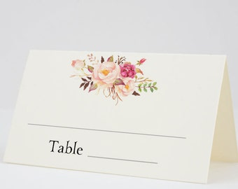 Place Cards Fold Over Escort Cards, Fill In Seating Tent Card Wedding, Shower - Boho Blooms, Set of 12, Size 2 x 3.5 inches, Printed Cards