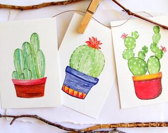3 Cactus Postcards A6