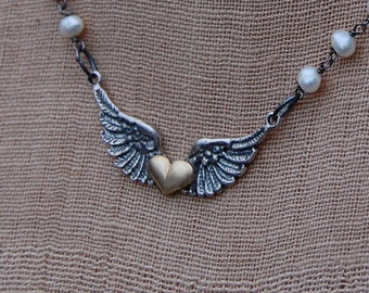 Gold Plated Heart On Silver Wings Necklace