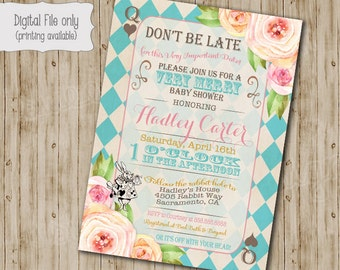 Alice in Wonderland Baby shower Invitation, Alice in Wonderland Baby shower tea party invitation, Vintage floral Mad Hatter invite