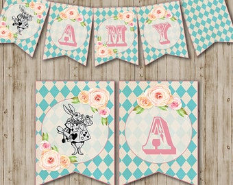 Alice In Wonderland Banner, Alice in Wonderland Tea Party, Wonderland, White Rabbit, Vintage, Shabby Chic