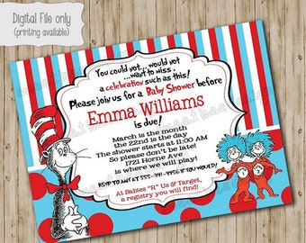 Dr Seuss Thing 1 & Thing 2 Baby Shower Invitation, Twin Baby Shower Invitation, Thing 1 Thing 2 Baby Shower Invitation