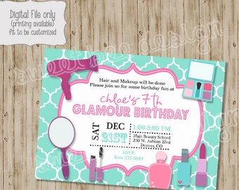 Spa Birthday Invitation- Glamour Spa Birthday Party, Salon Birthday Invitation, Makeup Birthday Invitation, Birthday Invitation