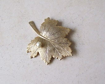 Vintage Sahra Coventry Brooch Goldtone Maple Leaf with Pearl Signed Costume Jewelry Scarf Pin Christmas Gift Mid Century Jewelry 1960s
