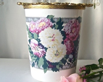 Vintage Plastic Waste Can Retro Floral Trash Can Waste Basket Bed And Bath Decor 1960s