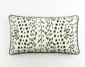 ON SALE Brunschwig & Fils/Lee Jofa Les Touches 14 X 24 Pillows Black with Black Welting (both sides)