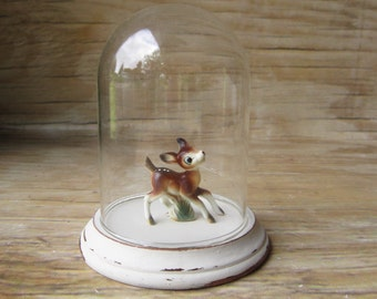 Vintage Glass Cloche with Wooden Base