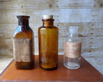 Antique Medicine Bottles -MARKED DOWN 30% Poison Bottle - Spooky Decor - Skull and Cross Bones - Halloween Party